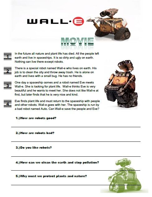 Wall-E Movie Worksheet great for young learners. Check it out here ...
