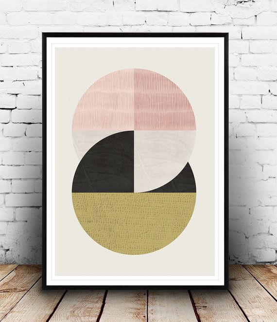 Circles art, Abstract art, Geometric print, Mid century modern, Scandinavian design, Watercolro abstract, Pastel colors, modern wall art