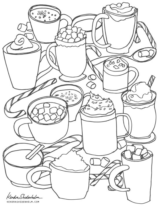 Hot Cocoa Sketch Free Coloring Page Coloring Pages Winter