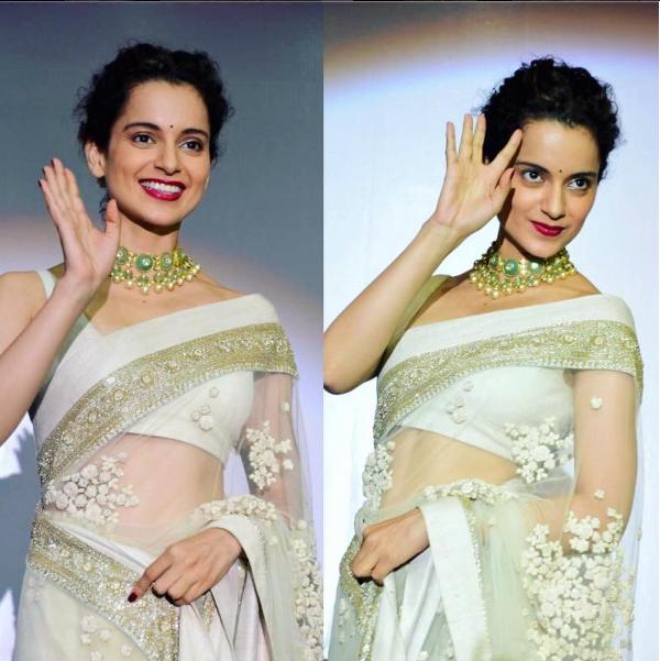 Kangana wearing white Saree