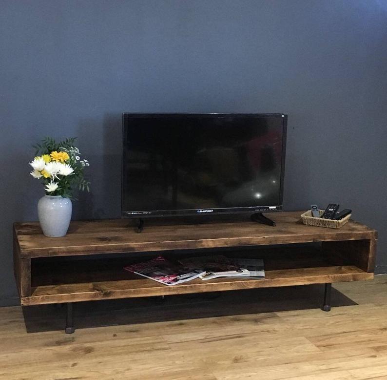 Reclaimed Wood Tv Stand Cabinet 37cm High En 2020 Meuble Tele Bois Meuble Dessus De Table
