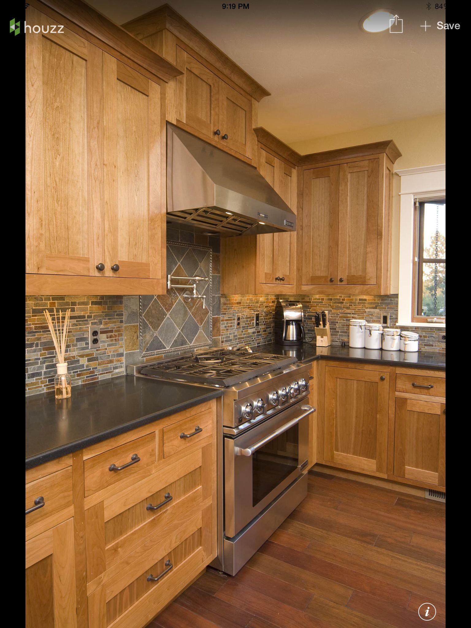 Houzz Hickory Cabinets Traditional Kitchen Design Rustic Kitchen Kitchen Design