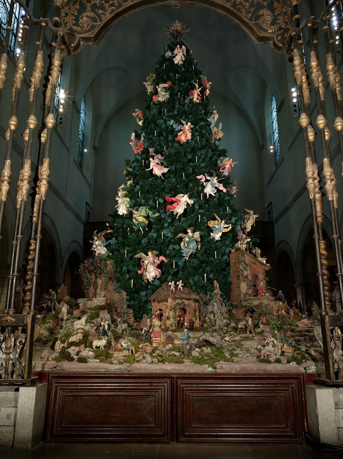Christmas Tree And Eighteenth Century Nativity Scene