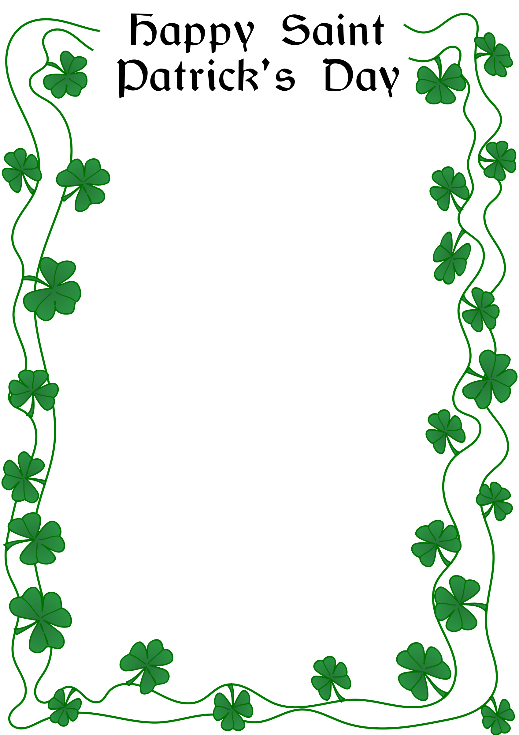 20 Free St. Patrick's Day Cards And Printable Party ... |St Patricks Border
