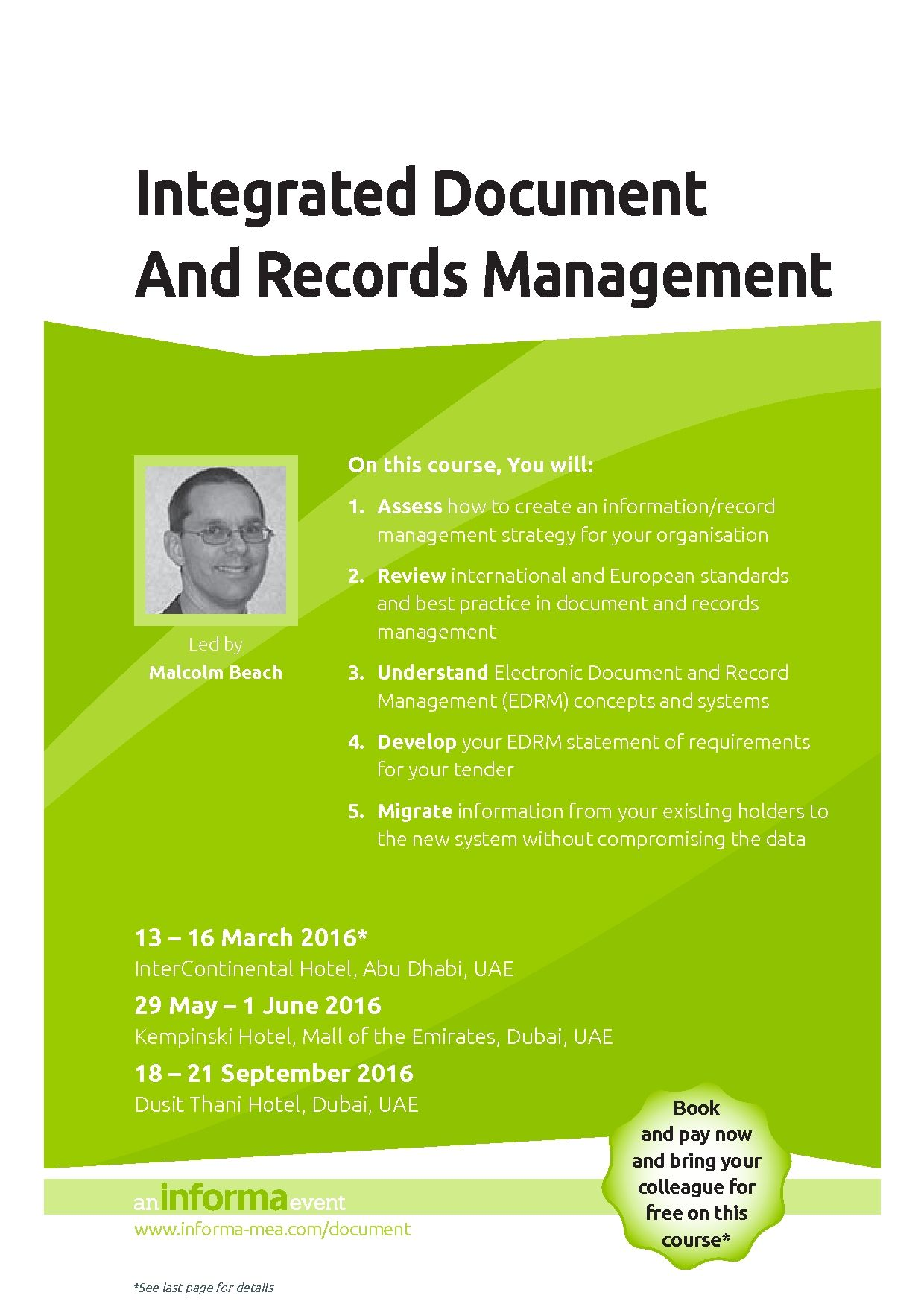 document management certificate edrm electronic informa training records professional mea