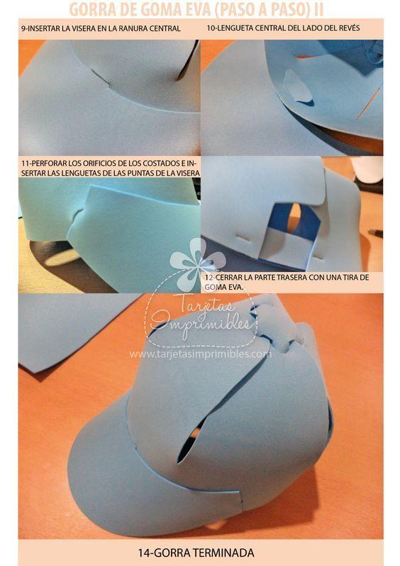 Sombreros o gorras de goma eva paso a paso y moldes ...  2bd2c0f4b0e