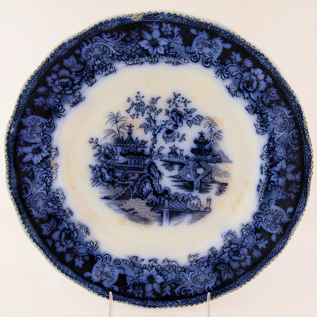 Antique Shanghai Historical Flow Blue Plate by Wade England Vintage 1870\u0027s from Antik Avenue on Ruby & Antique Shanghai Historical Flow Blue Plate by Wade England Vintage ...