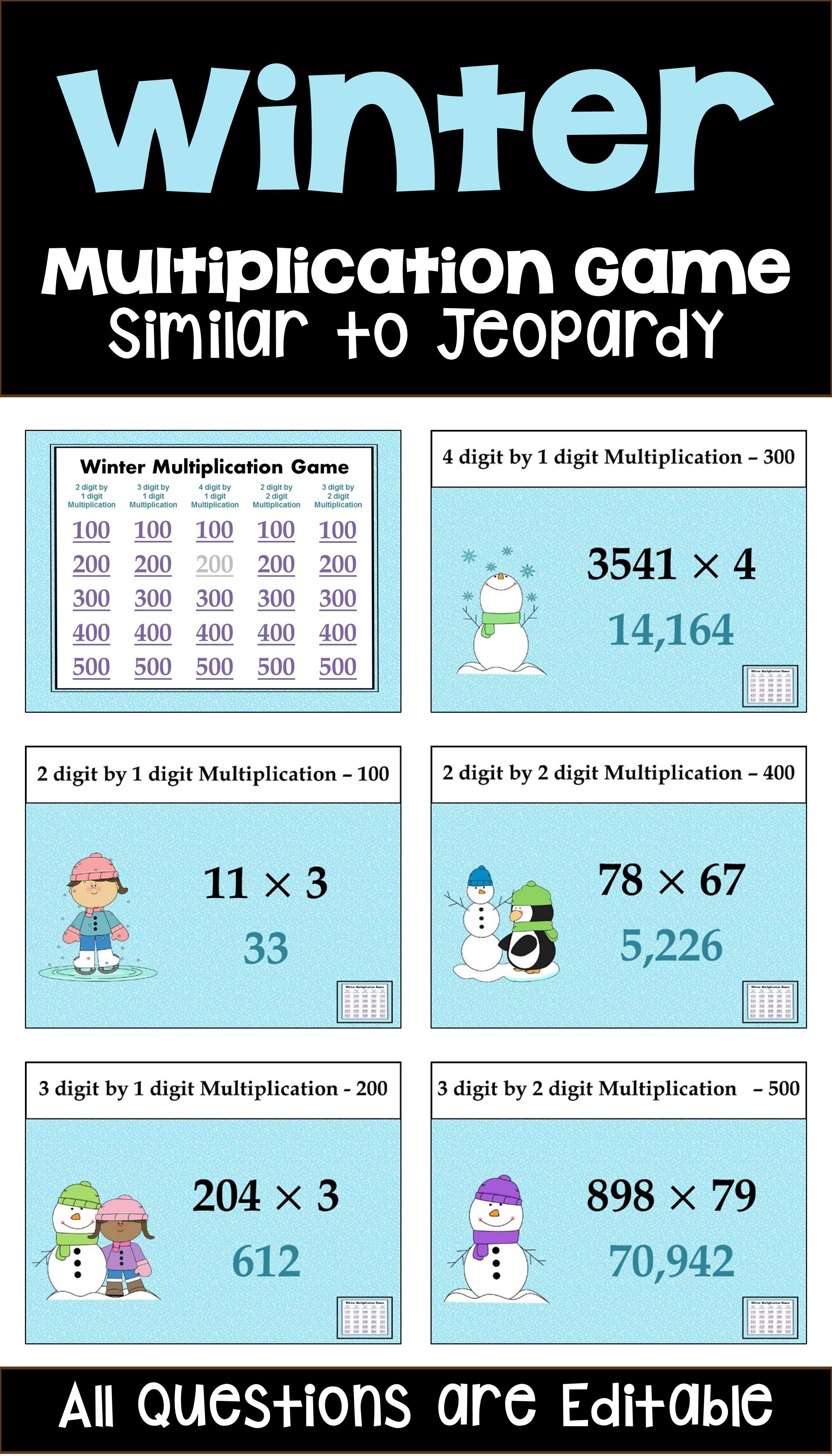 Winter Multiplication Game Similar To Jeopardy