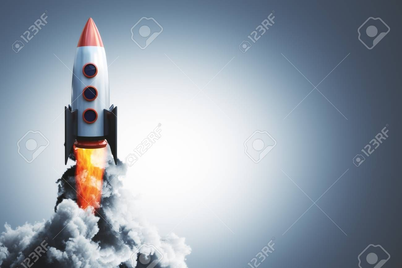 Launching rocket on gray background Startup and begin concept 3D Rendering Stock Photo