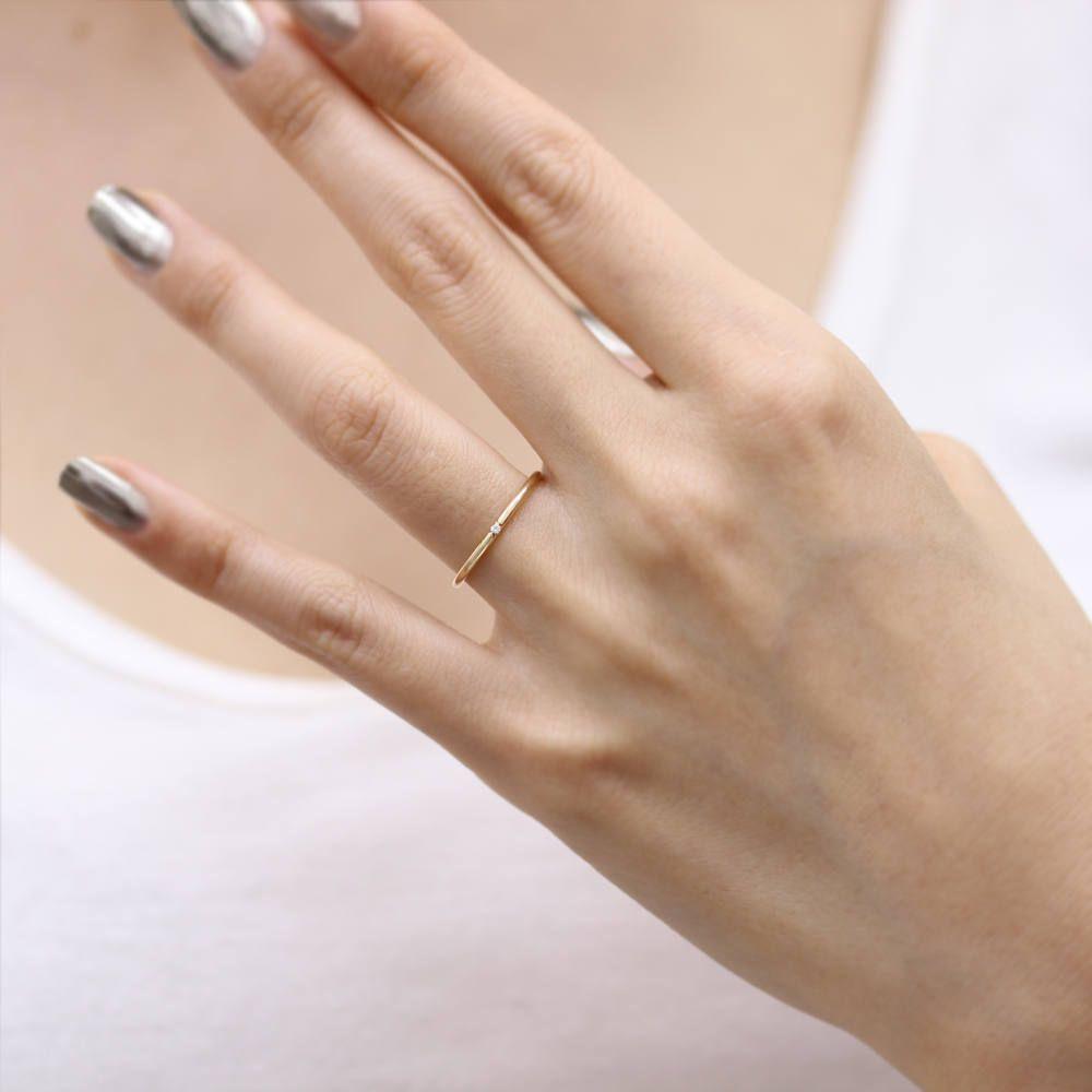 14 k solid gold Hand schnitzen V-Form Französisch abgeholzt Diamant ...