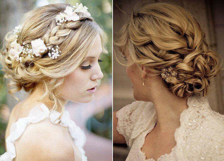 55 id es romantiques de coiffure mariage cheveux longs chignon boucl coiffure mariage - Coiffure mariage detache ...