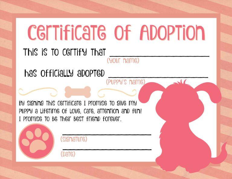 Puppy Adoption Certificate In 2020 Mit Bildern Adoption
