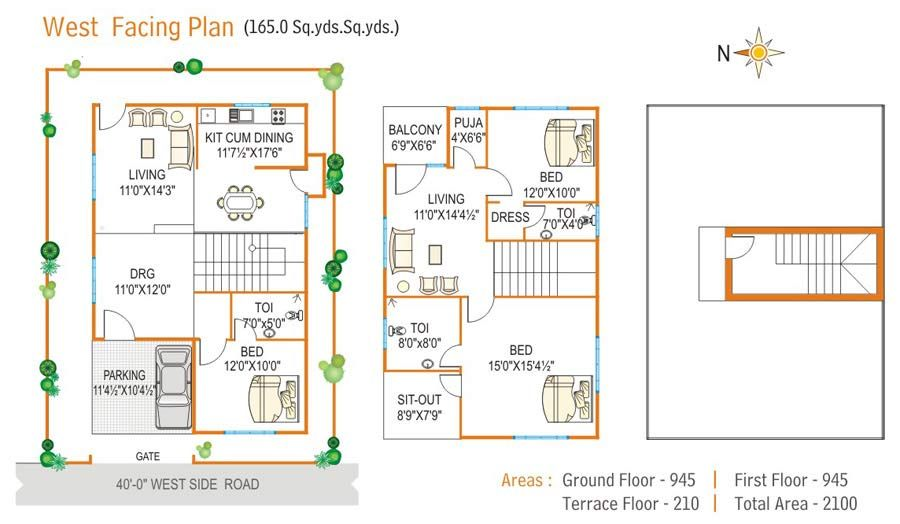 Home Inspiration: Various West Facing House Plan Vastu Model Floor Plans For Direction from West Facing House Plan