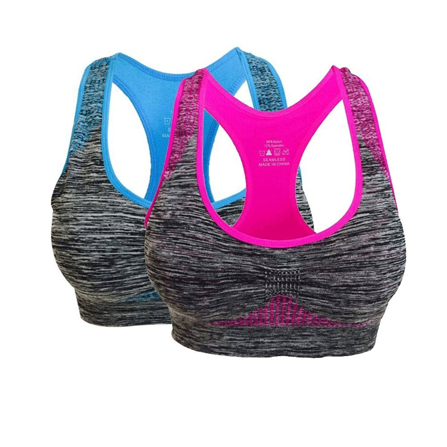 Women's Removable Padded Seamless Sports Bras Pocket High