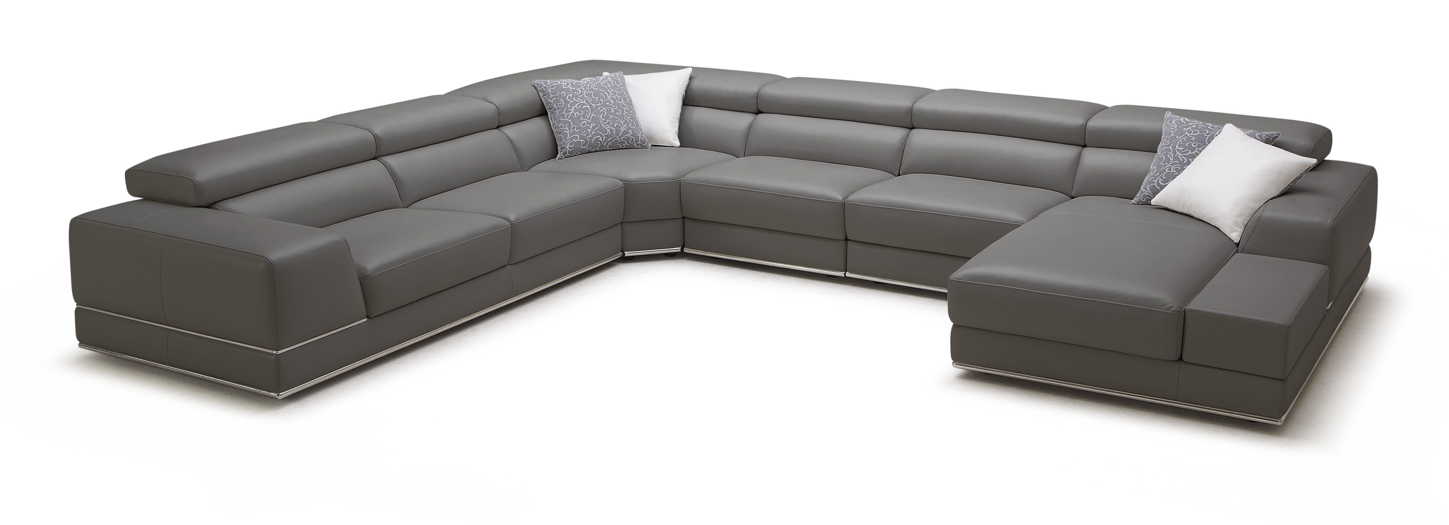 Bergamo Extended Sectional Leather Modern Sofa Elephant Gray Leather Sectional Leather Reclining Sectional Modern Leather Sofa