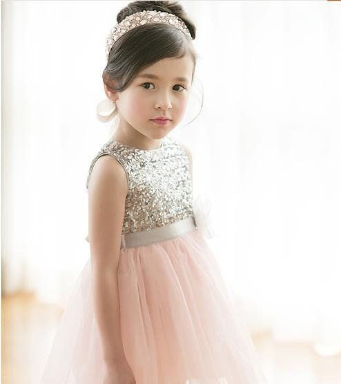 f7ab754f7b6 Blush and gold sequin flower girl dress - http   themerrybride.org