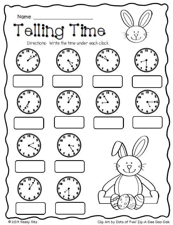 Easter MathTelling timeFREESecond grade Math2MD7tell – Time Worksheets for Grade 2