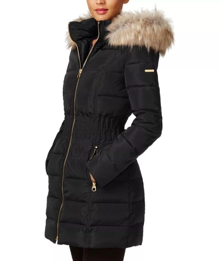 e1018a6fb521 Laundry by Shelli Segal Large Puffer Coat Faux Fur Hood Cinch Waist Black  Down