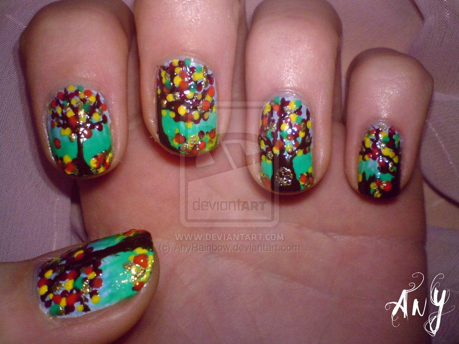 Deviantart More Like Green Feet Nail Design By Anyrainbow Cute