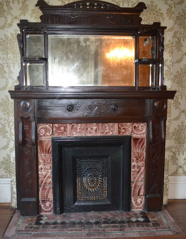 solid wood mantel from 1890 Victorian House | Fireplace | Pinterest | Wood mantels
