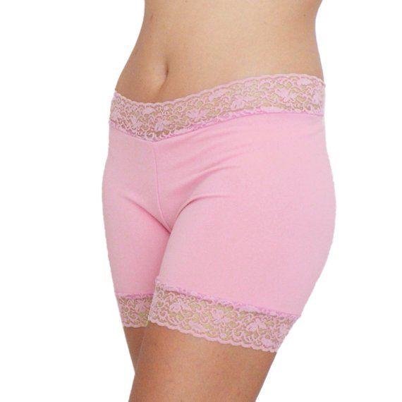 Lace Trim Undershorts Pink Biker Shorts Lace Tap Pants Matte Spandex Shorties #shortslace