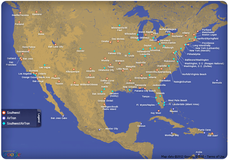 Southwest Destination Map South West Airlines Route Map | Southwest Airlines Interactive
