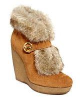 MICHAEL Michael Kors Shoes, Lara Platform Faux-Fur Wedge Booties