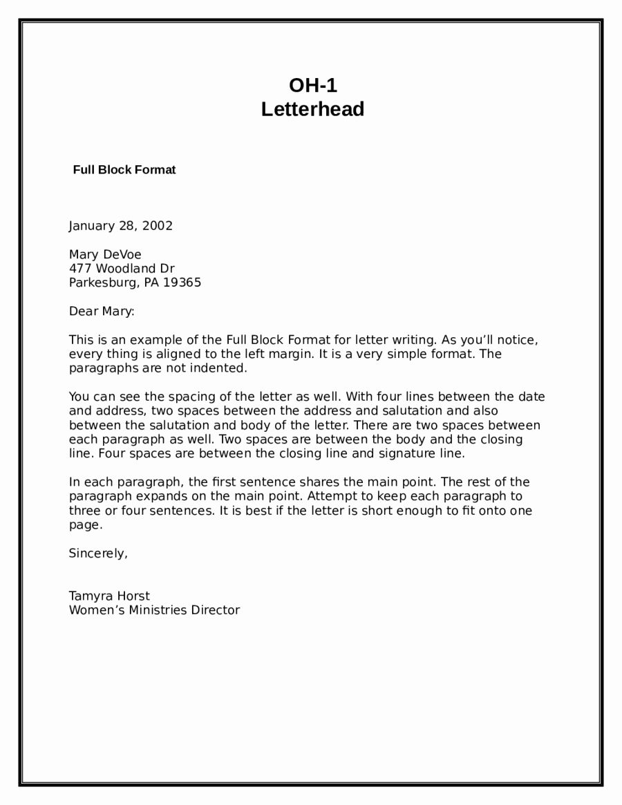 Modified Block Letter Format Awesome 2018 Block Letter Format Fillable Printable Pdf Forms Letter Template Word Letter Templates Free Business Letter Format