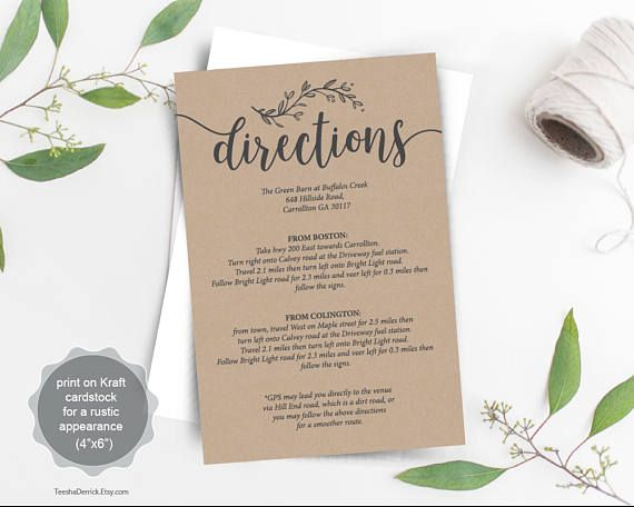 Wedding Directions Card Pdf Template Instant Details Invitation Design