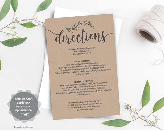 Wedding Directions Card Pdf Template Instant Details Invitation Design