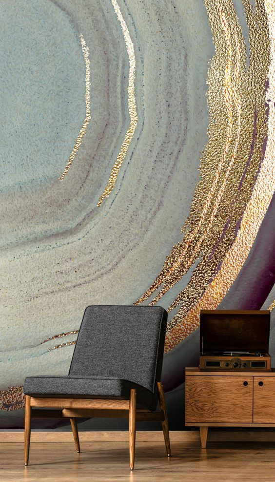 Stunning Gold Dust Grey Marble wall mural from Wallsauce #accentwall