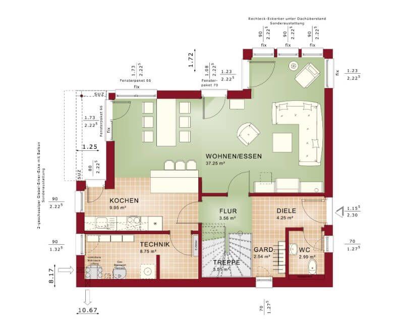 Einfamilienhaus mit Satteldach Grundriss Erdgeschoss \/\/ Haus - moderne offene wohnzimmer