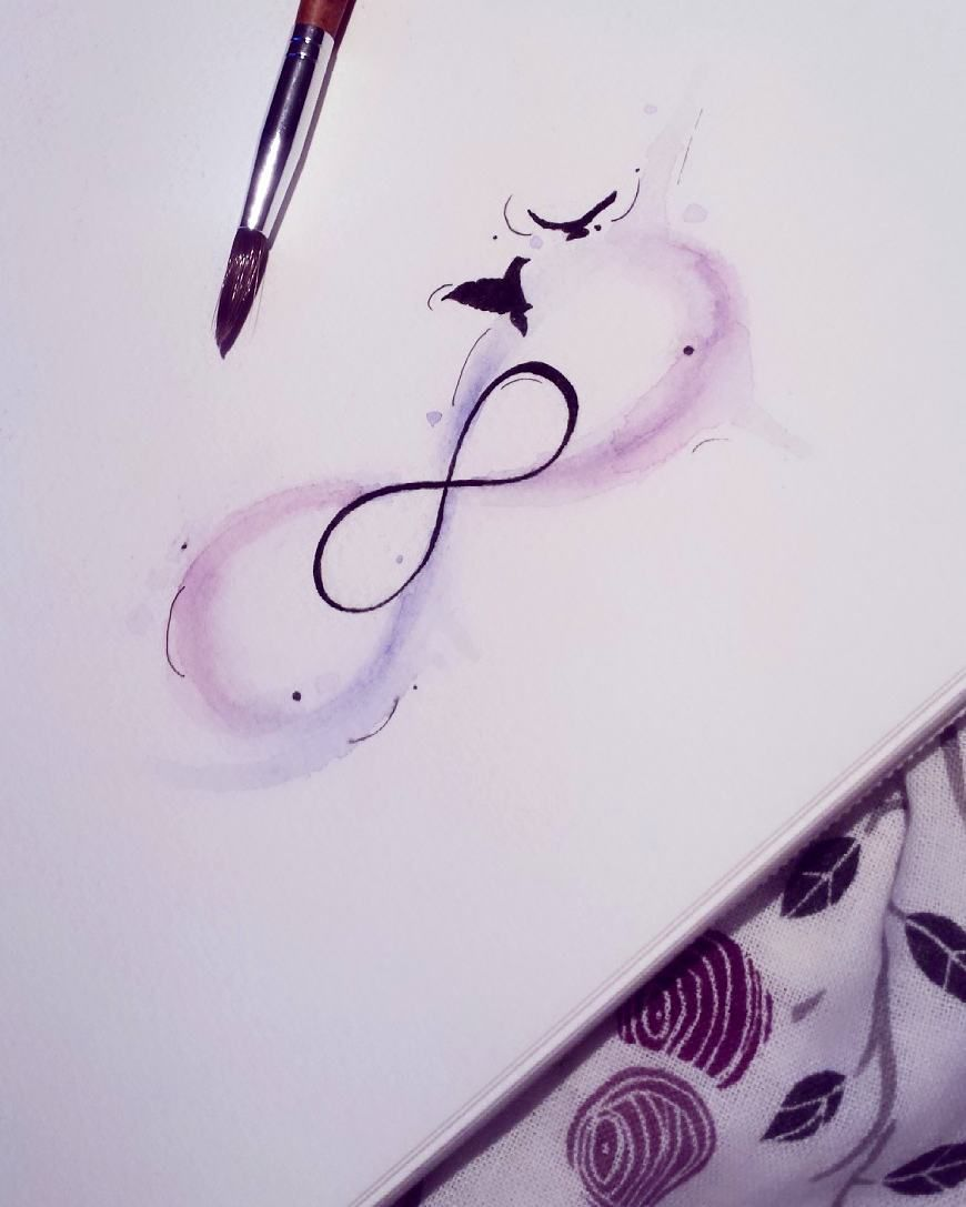 watercolor infinity tattoo inspiration tattoo. Black Bedroom Furniture Sets. Home Design Ideas