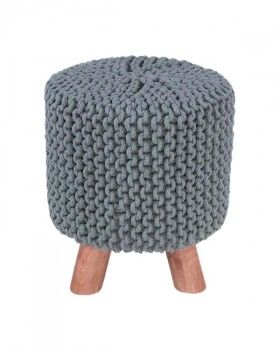 Baby Blue Tall Knitted Footstool With Wooden Legs Wooden Leg