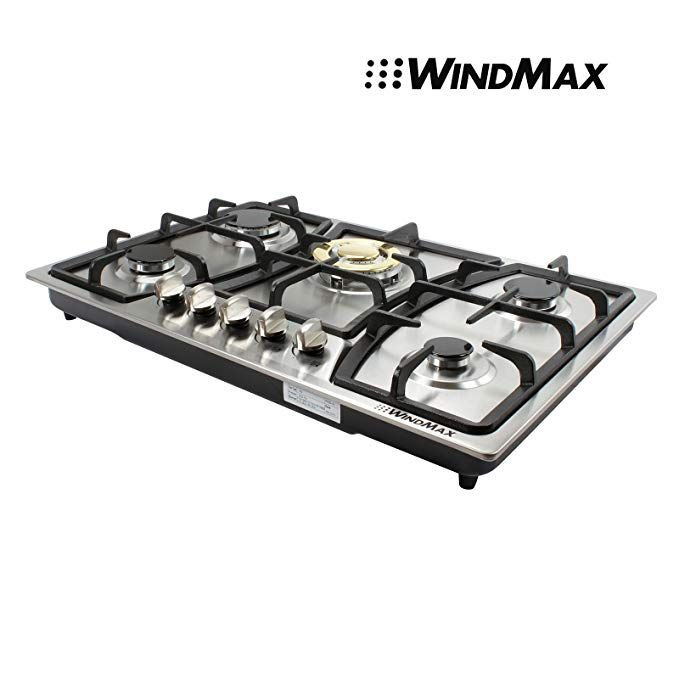 Appliances WindMax 30 Black Titanium Stainless Steel 5 Burner Built-In Stoves Gas Cooktop Cooker
