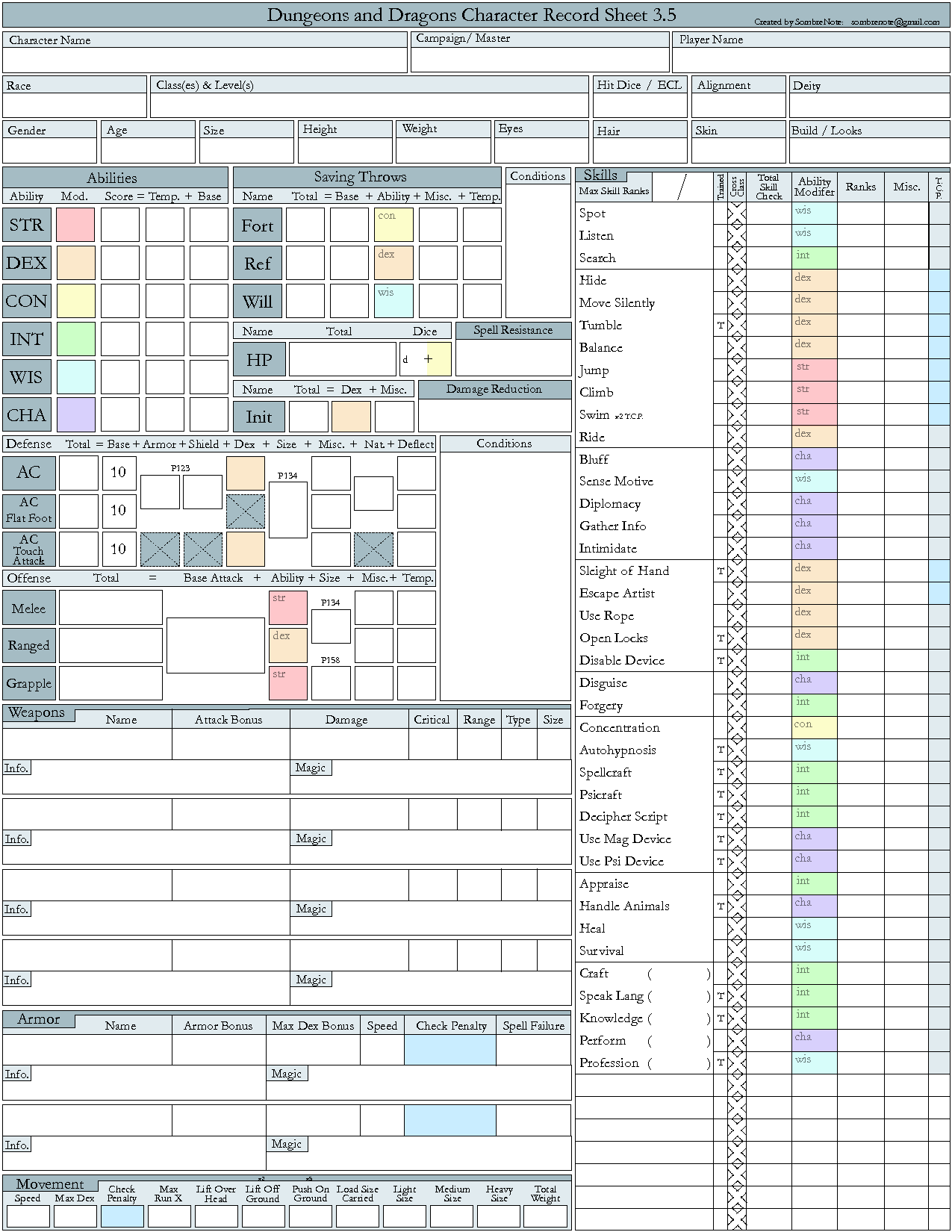 D&D 3 5e Character Record Sheet | Family Game Night in 2019