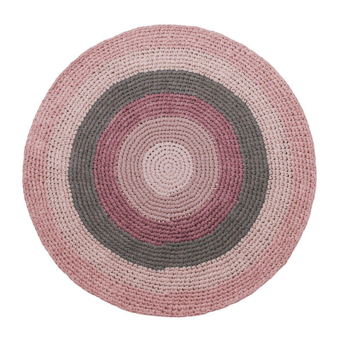 Sebra Teppich Gehäkelt In Grau Und Rosa Teppich Rund Kinderzimmer Teppich Altrosa Teppich Kinderzimmer