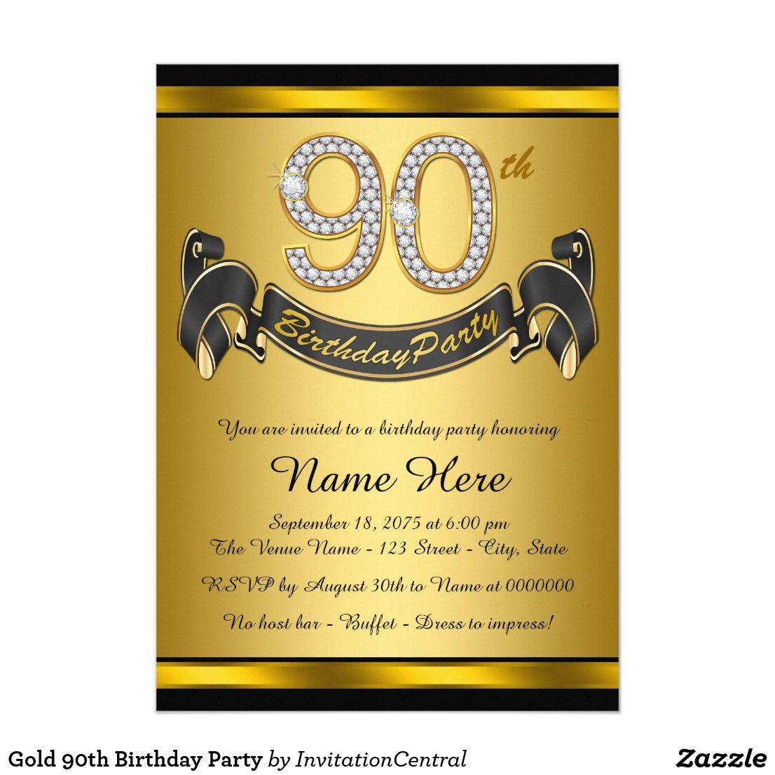 Gold 90th Birthday Party Card Invitation With Diamond Numbers And Banner On A Beautiful Rich Black Background