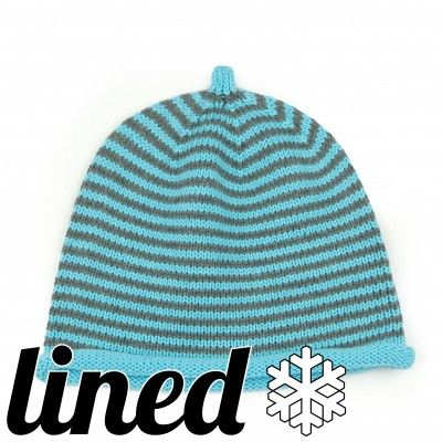 Unisex 100% cotton lined hat, for winter. R03 striped grey turquoise