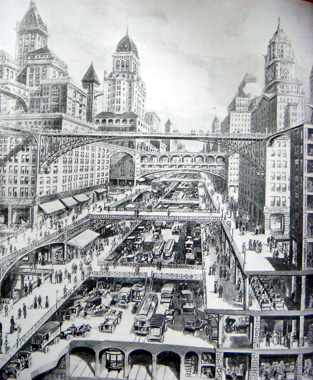 City Of The Future By Harvey Wiley Corbett 1913 From Parisdeuxieme Via Missmoonpie Vintagefuture