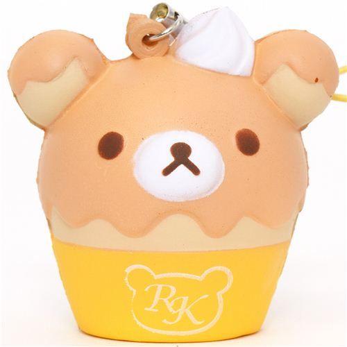 Squishy Cupcake : yellow Rilakkuma bear cupcake squishy cellphone charm Cute Squishes Pinterest Bear ...