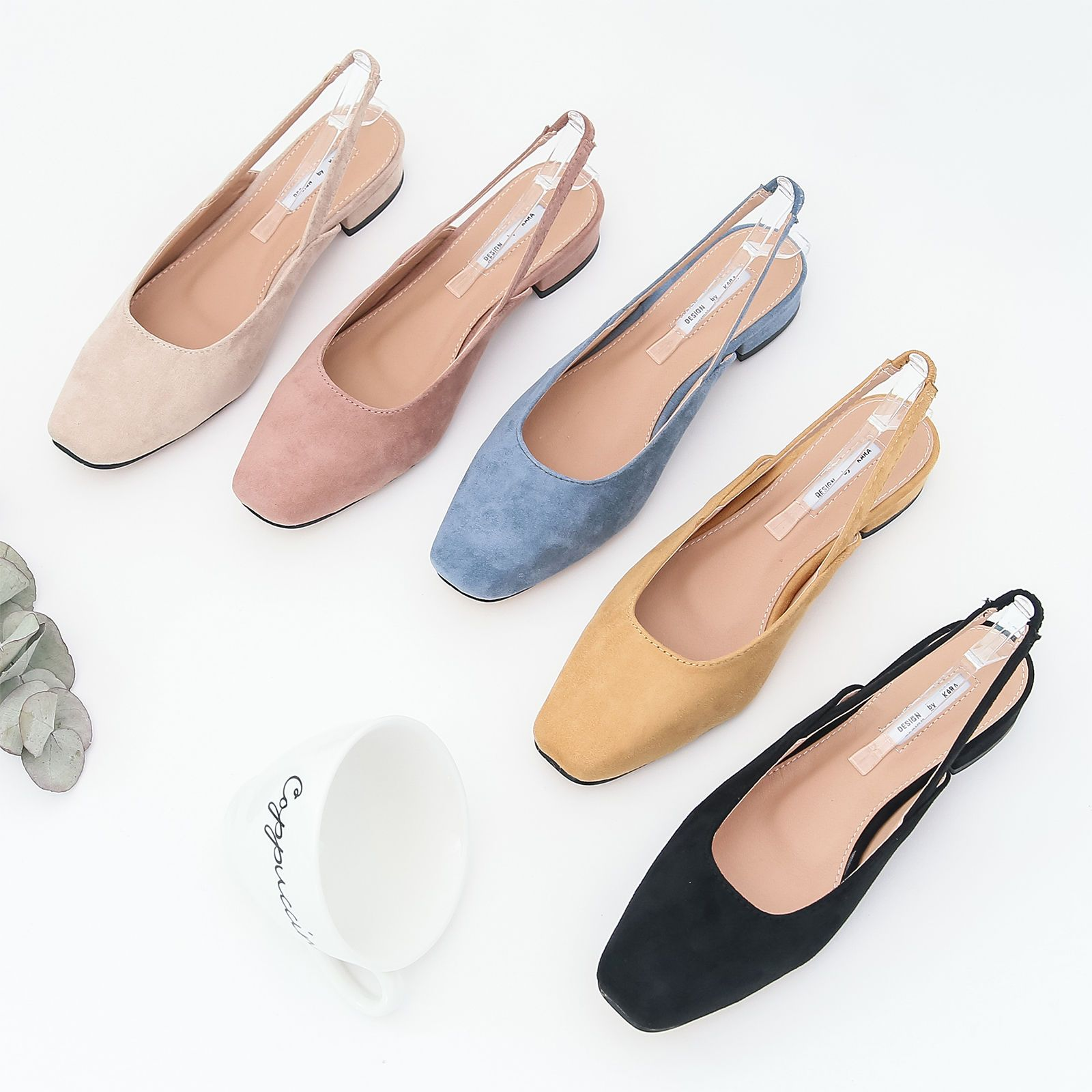 f8838e0f81e Annakastle Vegan Suede Square Toe Backless Loafer Slingback Flat Daily Shoes