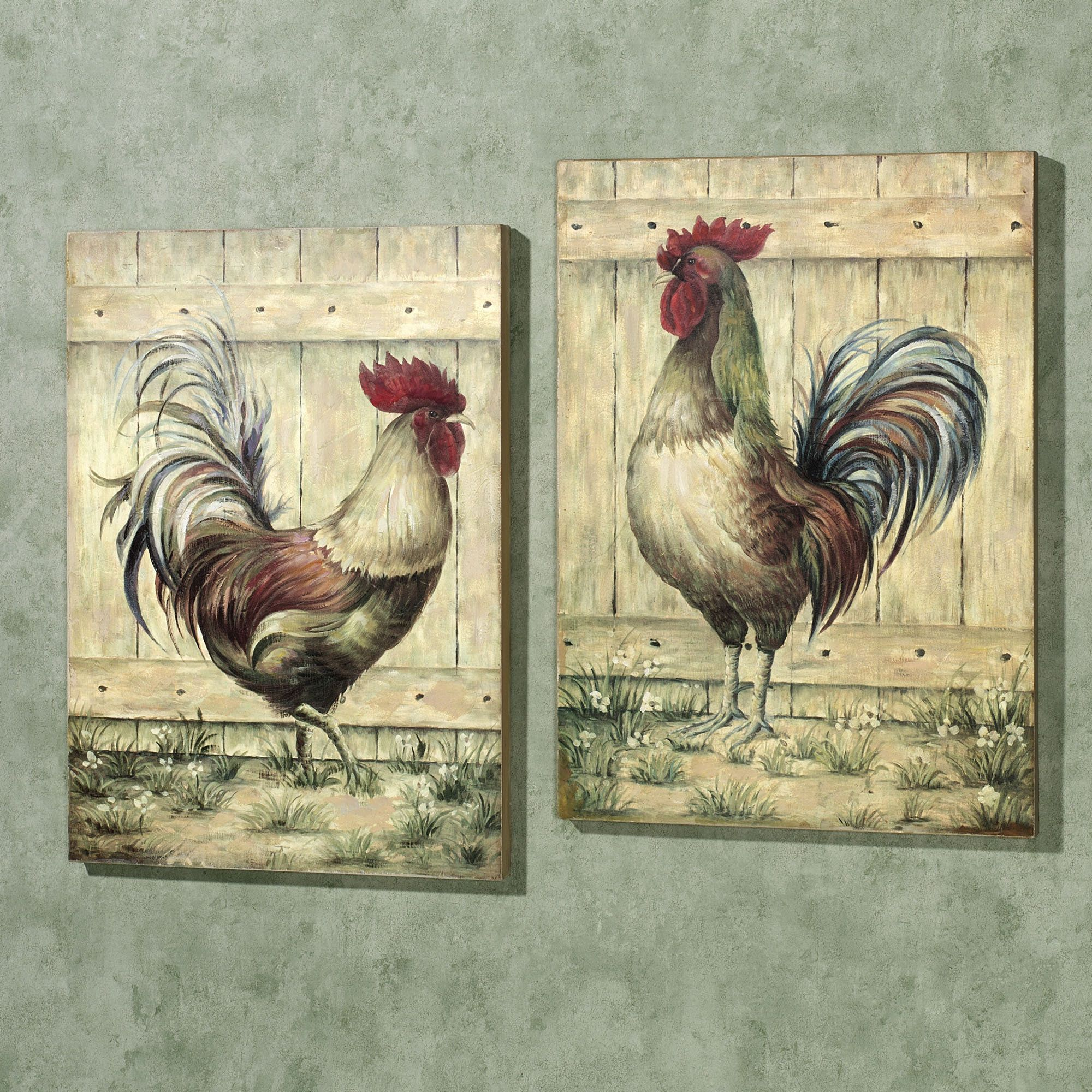 Royale Rooster Wall Art Plaque Set Rooster Decor