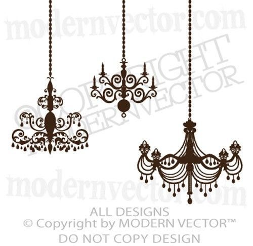 Chandelier vinyl wall decal graphics 3 chandeliers art home decor chandelier vinyl wall decal graphics 3 chandeliers art home decor vintage chic aloadofball Image collections