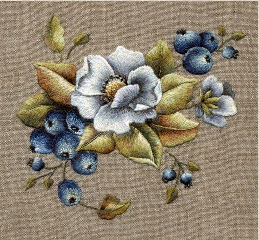 Crewel embroidery with Stumpwork blue berries from Crewel & Surface Embroidery Book.