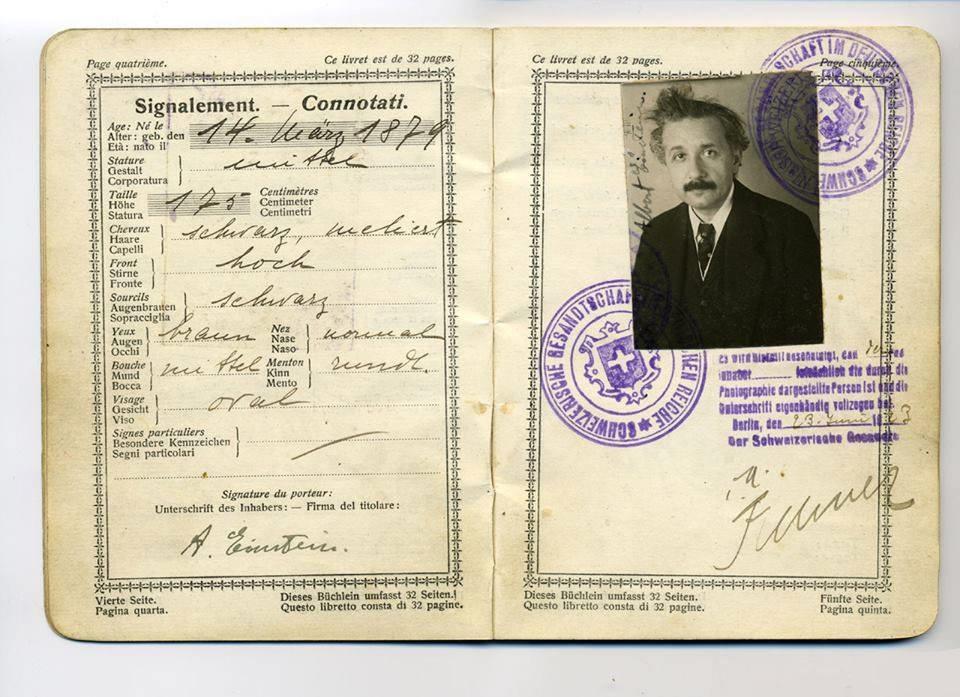Albert Einstein S Original Passport Albert Einstein Passport Photo Einstein