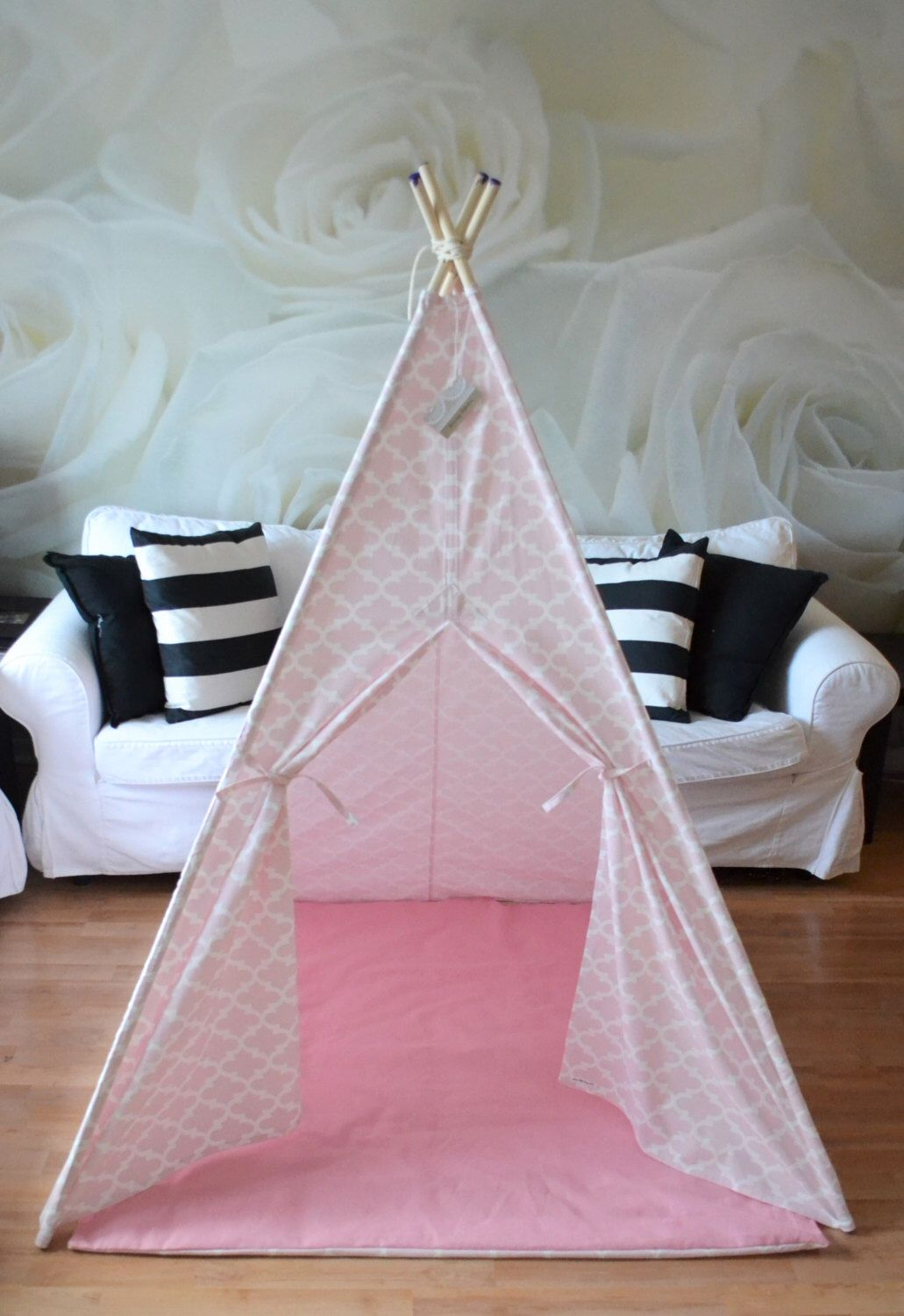 Teepee play tent with poles and play mat - pink and white treillis morrocan 4 panels & Teepee play tent with poles and play mat - pink and white treillis ...