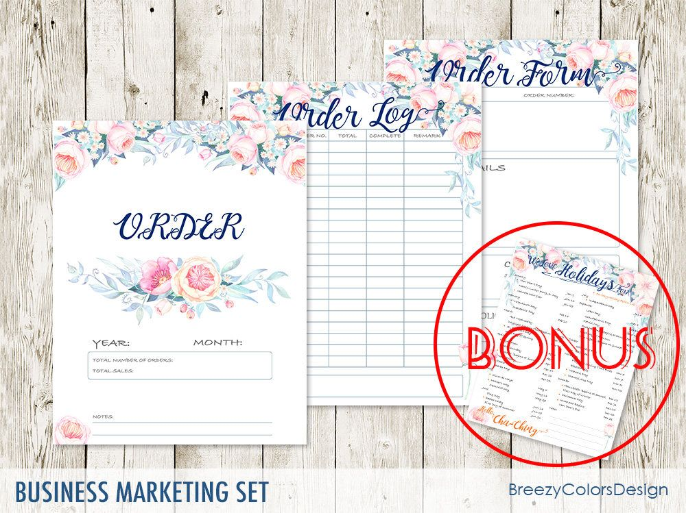 Set of 4 Marketing Pack, Floral Sales Order Book Tracker, Craft - business order form