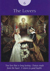 The Lovers, from the Fairy Tarot Cards by Doreen Virtue, Radleigh Valentine, and Howard David Johnson. Published by Hay House. https://lifeofhimm.wordpress.com/2016/02/08/your-week-in-tarot-february-8-14-2016/