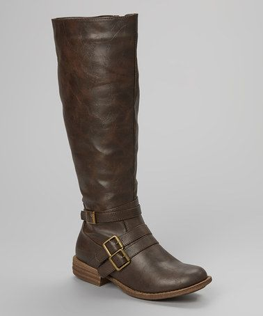 Brown Triple-Buckle Boot #zulily #zulilyfinds